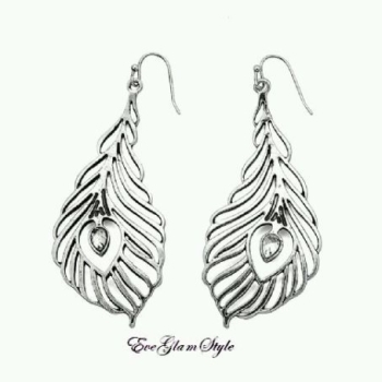 Glamorous Antique Silver Feather Look Women Earrings