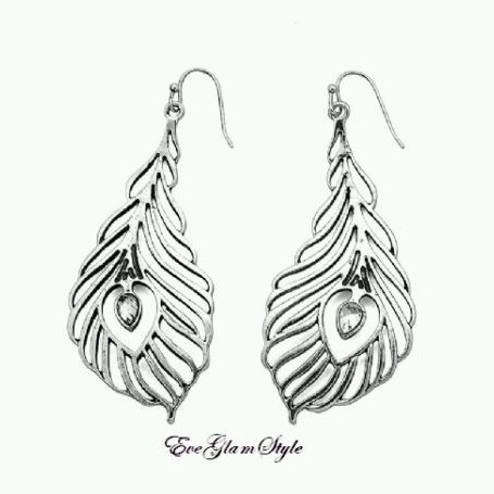 Glamorous Antique Silver Feather Look Women Earrings