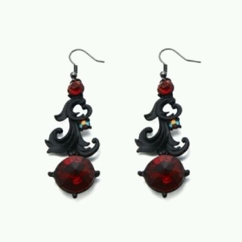 Statement Glass Stone Women Ladies Vintage Style Earrings Red Black