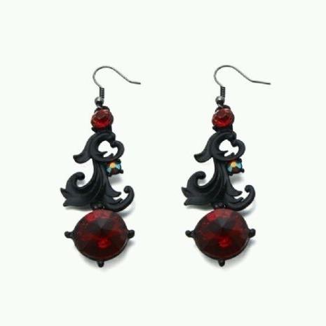 Statement Glass Stone Women Ladies Vintage Style Earrings Red Black