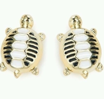 Turtle Stud Women Ladies Earrings gold finish enamel trendy ladies jewellery