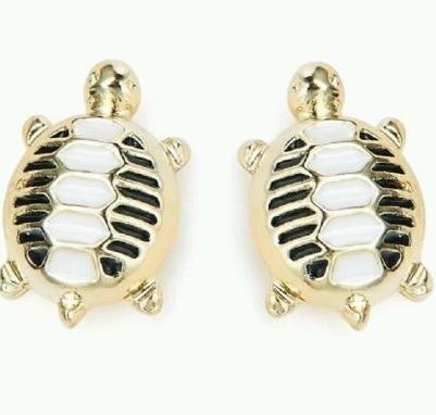 Turtle Stud Women Ladies Earrings gold finish enamel trendy ladies jeweller