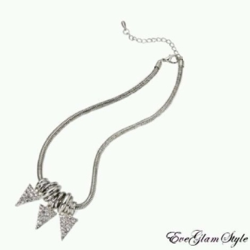Trendy Silver Diamante Triangular Nacklace