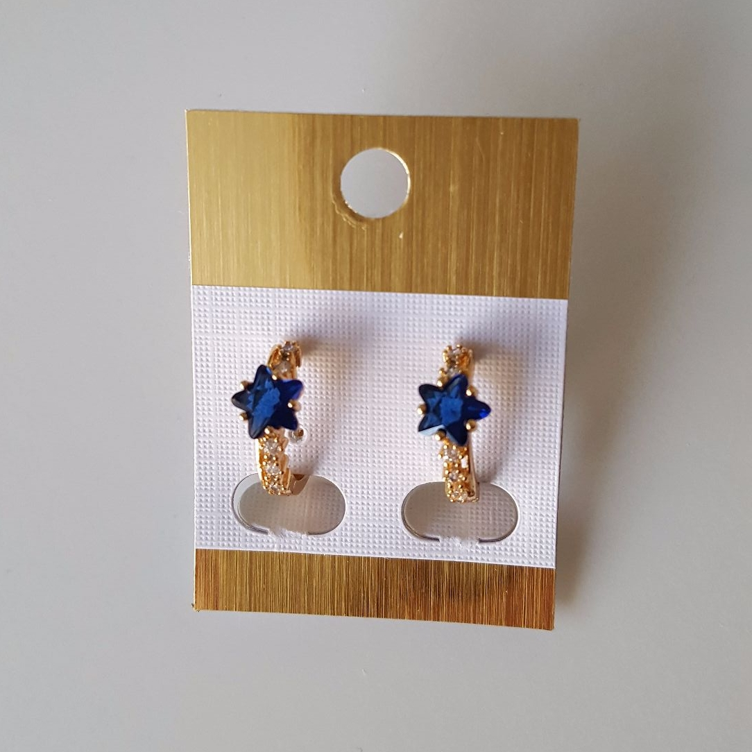 Beauty Real Gold Plated Women Earrings Blue Stars Crystals