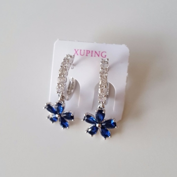 Silver Zircon Blue Flower Crystals Women Earrings New In