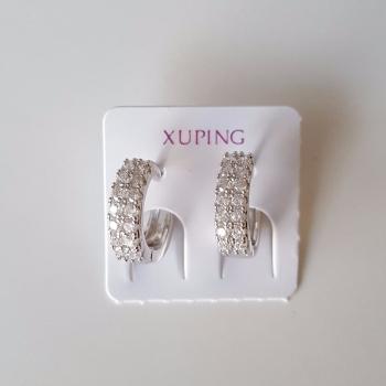 Diamante Style Women Hoops Earrings Silver