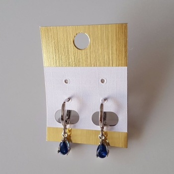 Small Women Hoops Silver Earrings With Dangle Blue Crystal Stones