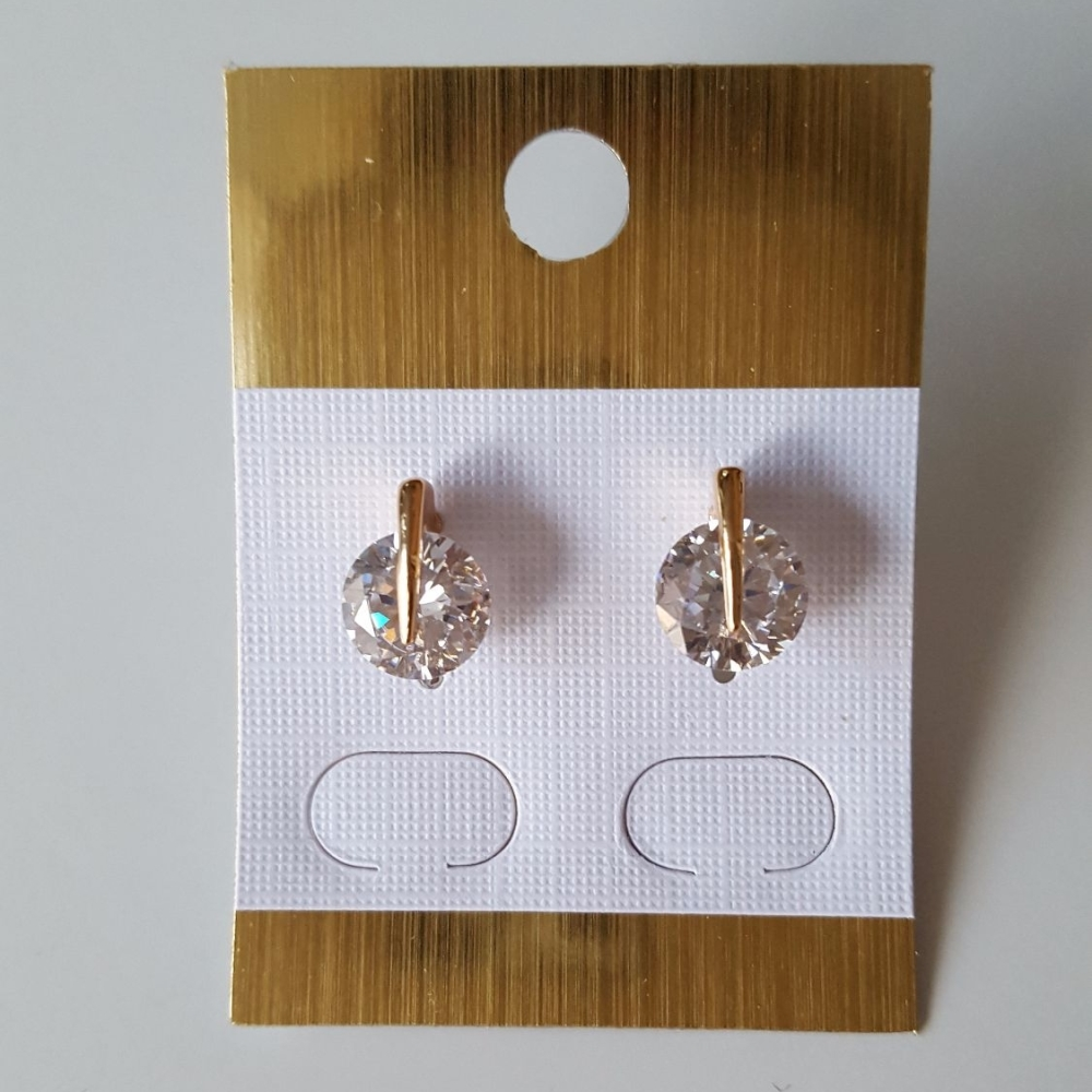 Real Gold Plated Zircon Stud Earrings