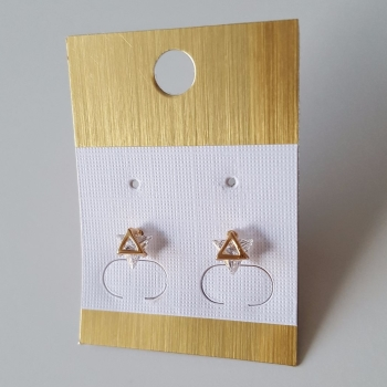 Real Gold Plated Small Triangle Zircon Women Earrings