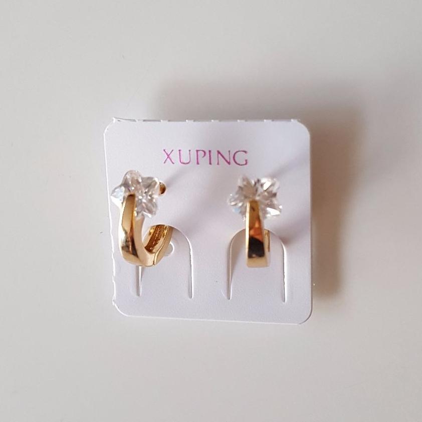 Star Zirconia Shape Real Gold Plated Women Earrings