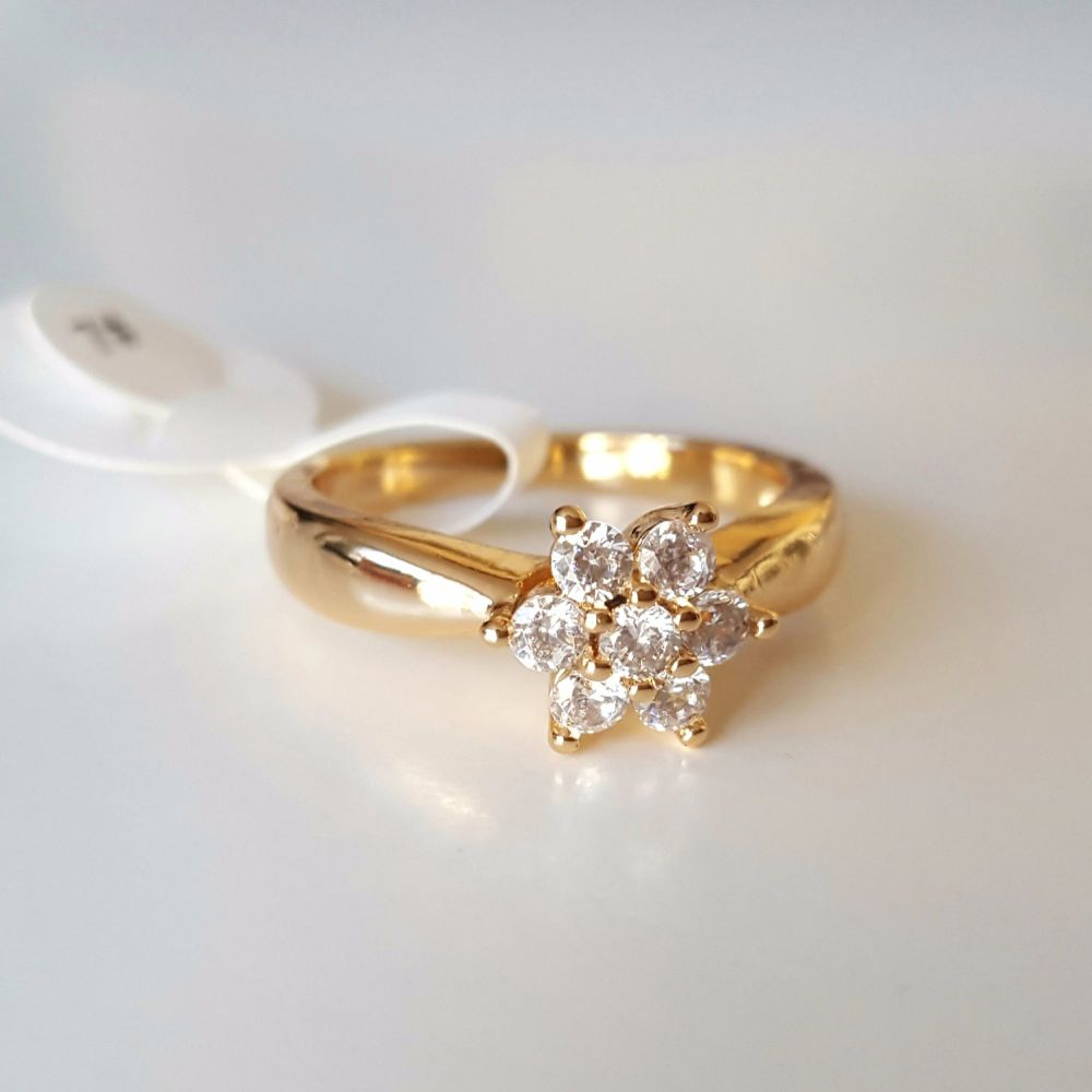 Real Gold Plated Women Ring Crystal Stones Flower