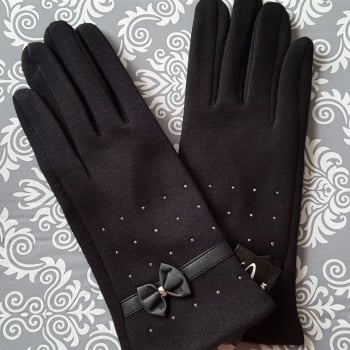 Black Women Trendy Style Gloves Leather Bow and Silver Studs