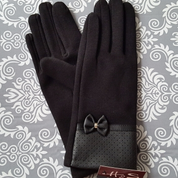 Black Women Winter Gloves New Style Leather Cotton