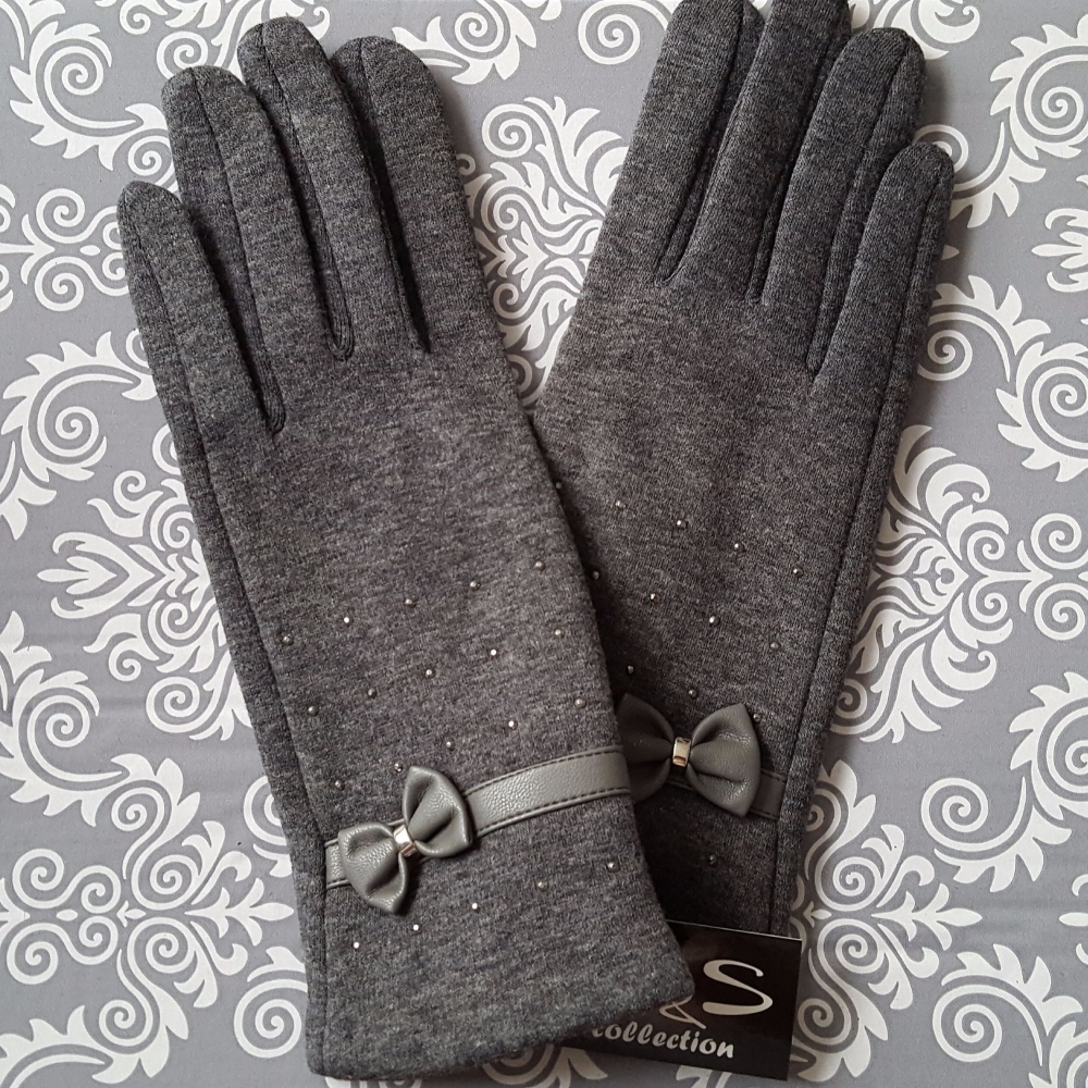 Grey Women Trendy Style Winter Gloves With Bow