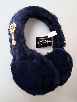 Trendy Women Navy Fur Earmuffs