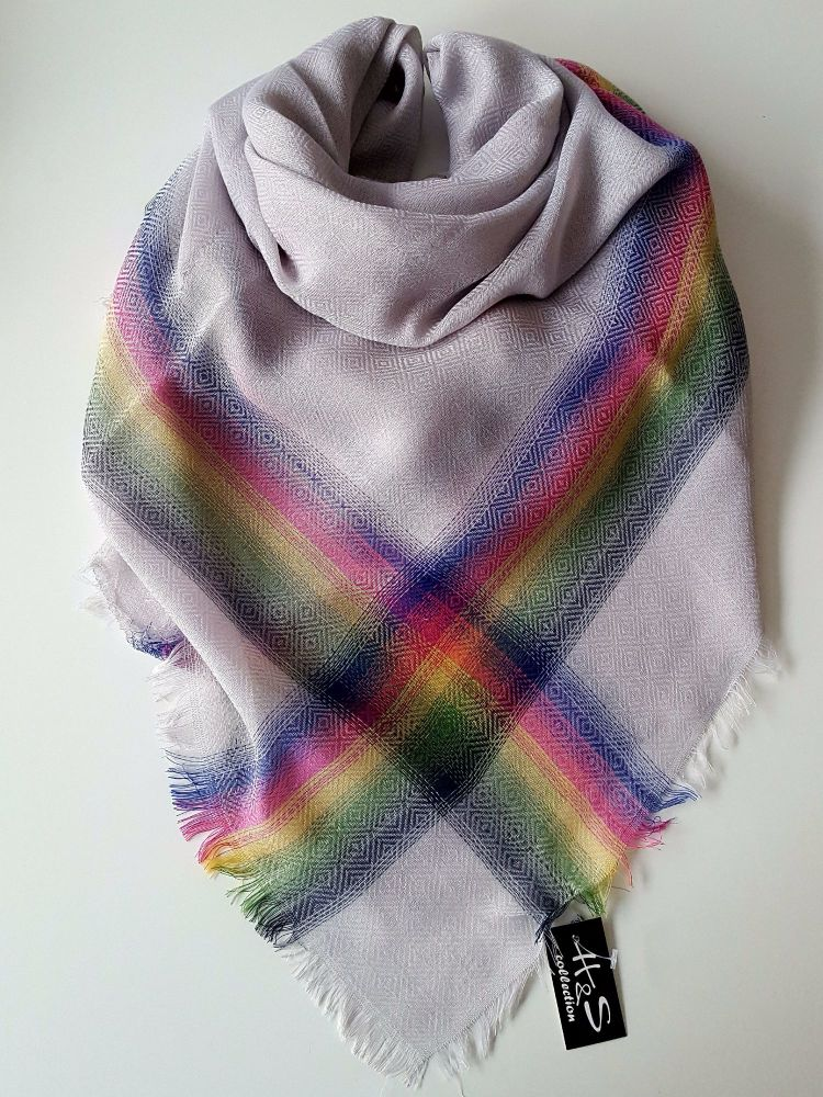 Light Grey Multicolour Oversize Women Scarf