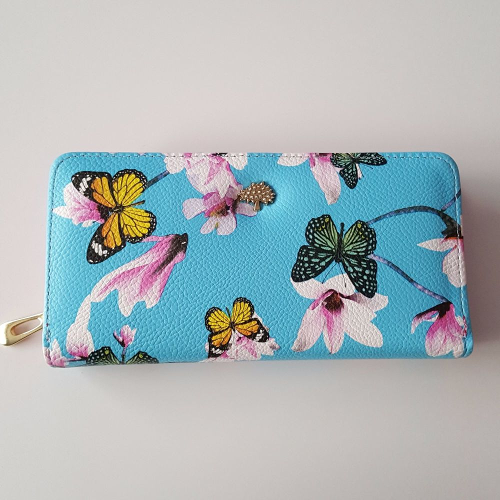 Baby Blue Women Trendy Leather Wallet Purse Oriental Style