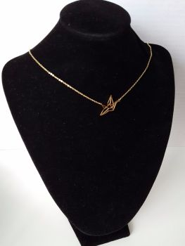 Celebrity Style Real Gold Plated Necklace Origami Shape Bird