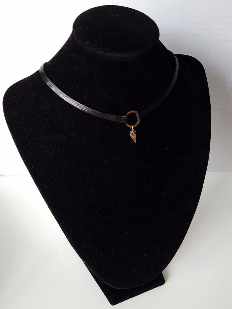 Black Women Choker With Real Gold Plated Finish Angel Wing