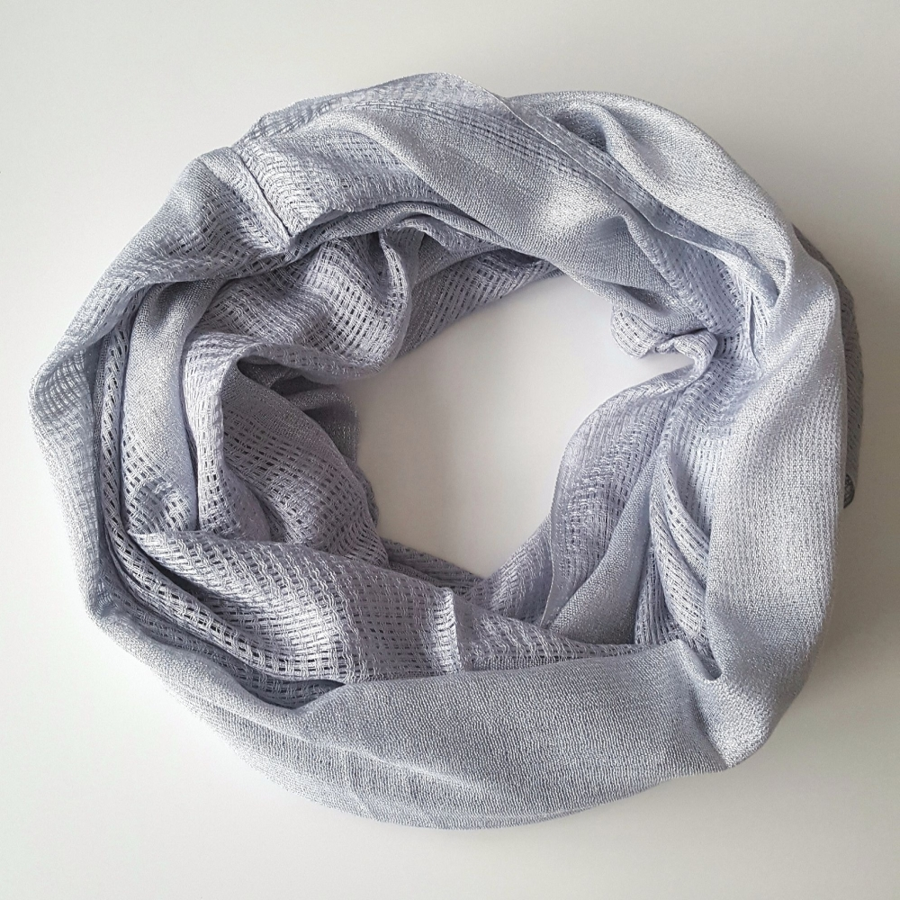 Light Grey Knitted Style Silver Sparkle Women Snood
