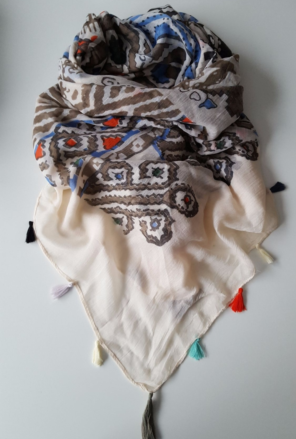 Large Beige Oversize Square Women Scarf With Mixed Colours Fringes