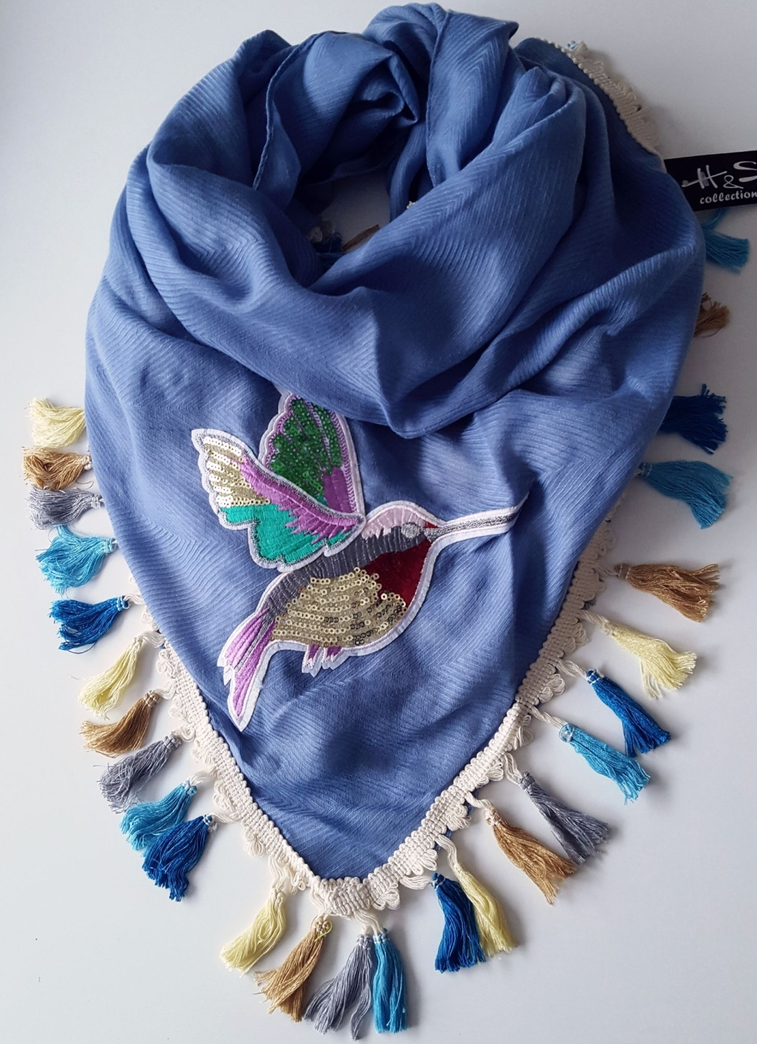 Blue Oversize Triangle Women Scarf With Beauty Bird And Fringes
