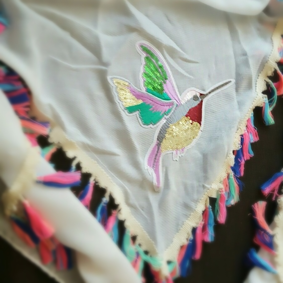 Ivory Oversize Triangle Women Scarf With Bird Neon Fringes