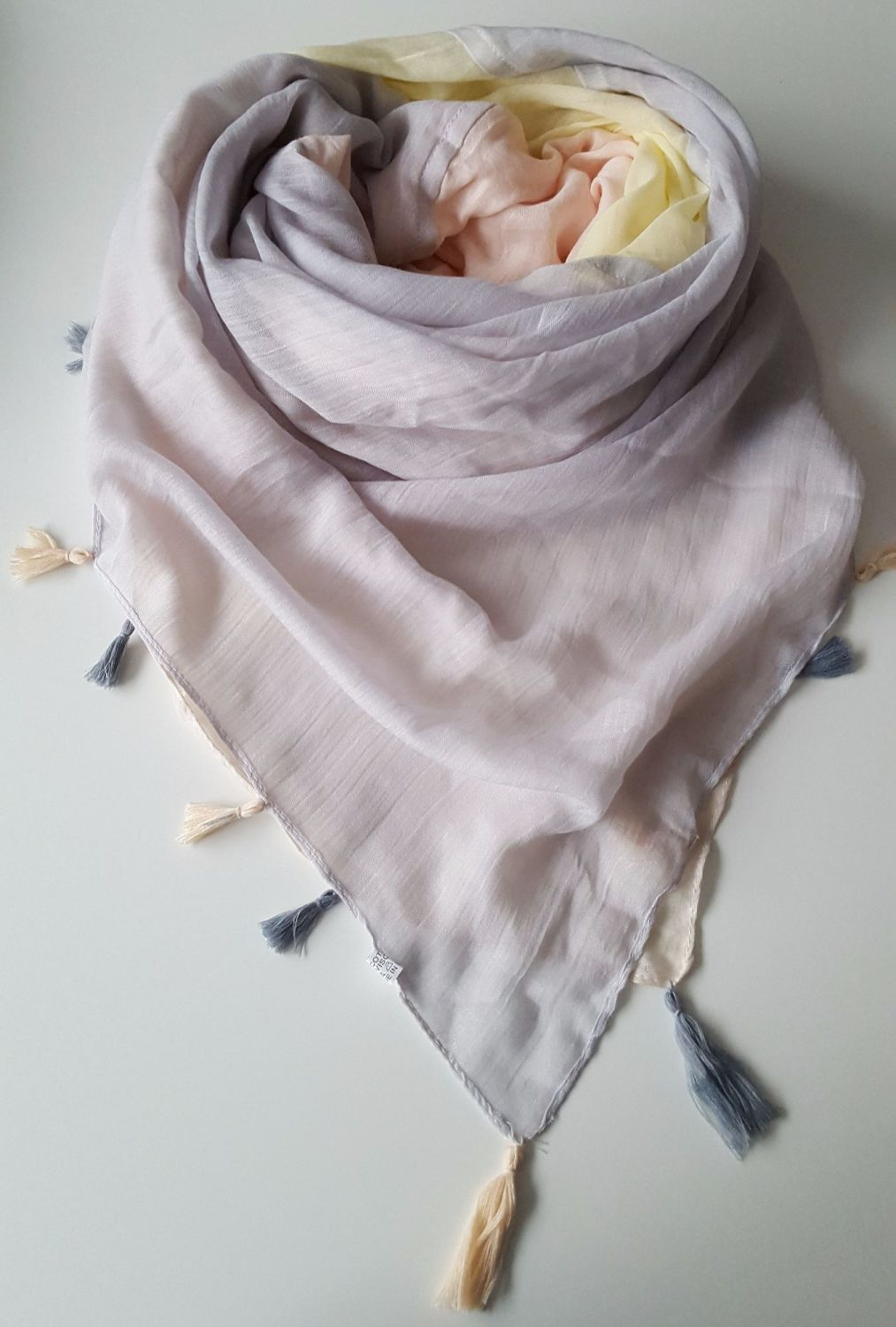 Four Shadow Squares Women Oversize Scarf With Fringes 2
