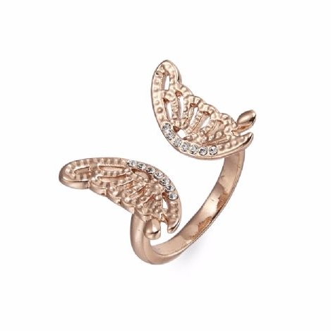 Real Gold Plated Butterfly Ring Crystal Stones
