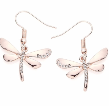 Rose Gold Finish Dragonfly Earrings