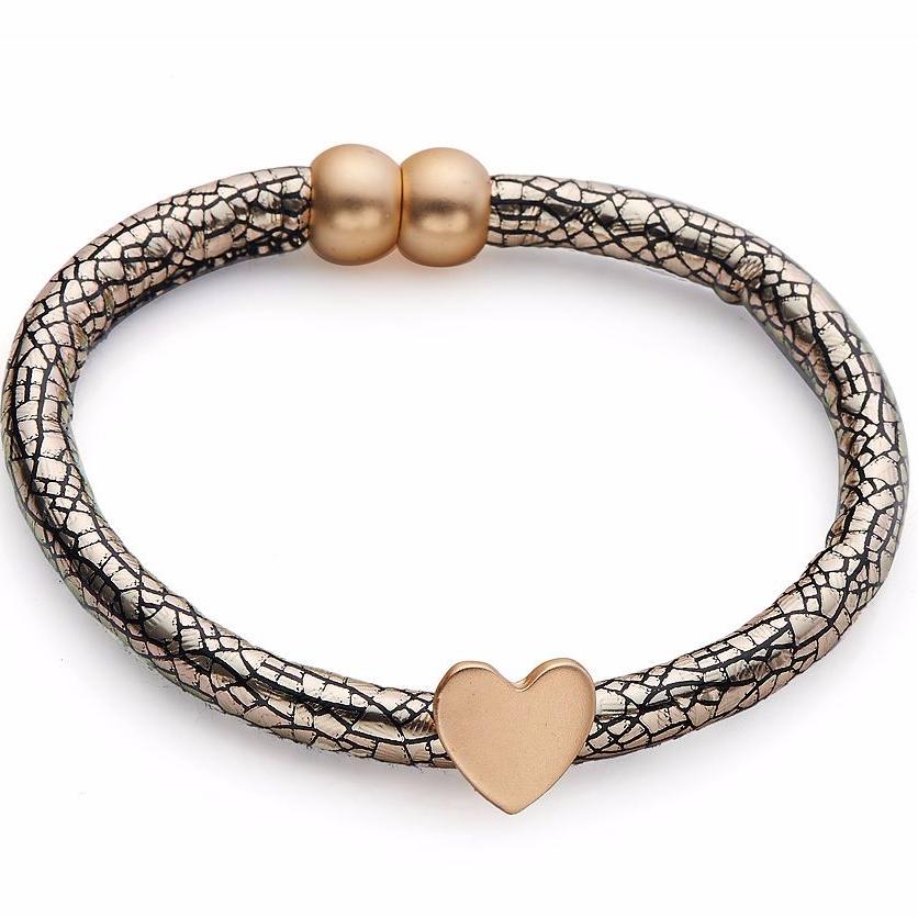 Gold Single Charm Bracelet Cracked Effect