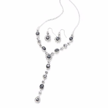 Crystal Stone Matching Necklace and Earrings Set Silver Special Occasion Jewellery
