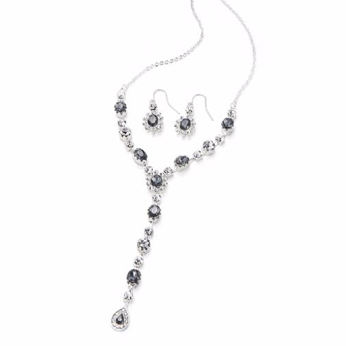 Crystal Stone Matching Necklace and Earrings Set Silver Special Occasion Je