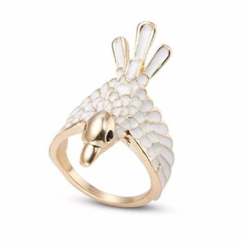 Gold And Cream Enamel Women Bird Ring 17mm