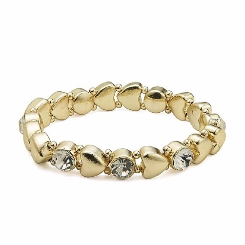 Gold Stretchy Hearts Bracelet With Crystals