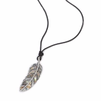 Long Real Leather Necklace With Beauty Decorative Leaf