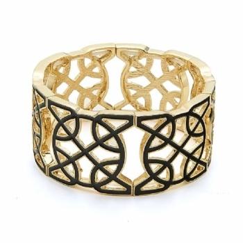 Women Gold Black Enamel Bracelet