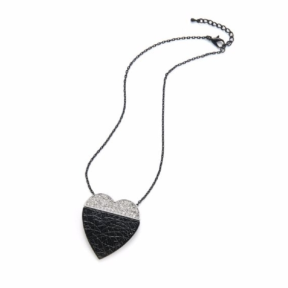 Black Silver Heart Women Necklace