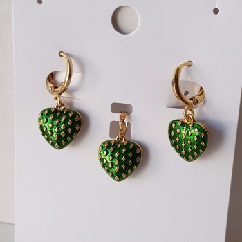 Real Gold Plated Green Hearts Earrings And Pendant Set