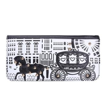 Black White horse carriage print women purse