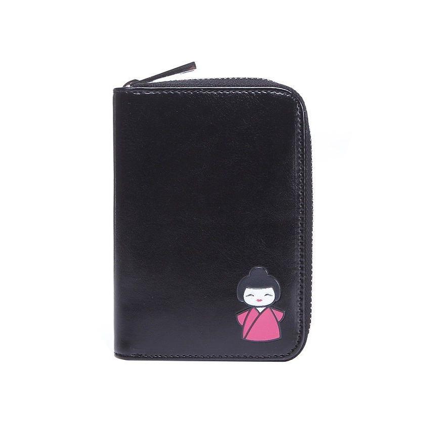 Black geisha embossed small women purse