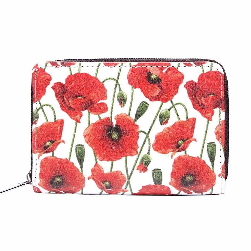 Red poppy print small purse