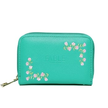 Small green rose embroidered purse