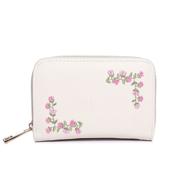 Small ivory rose embroidered purse