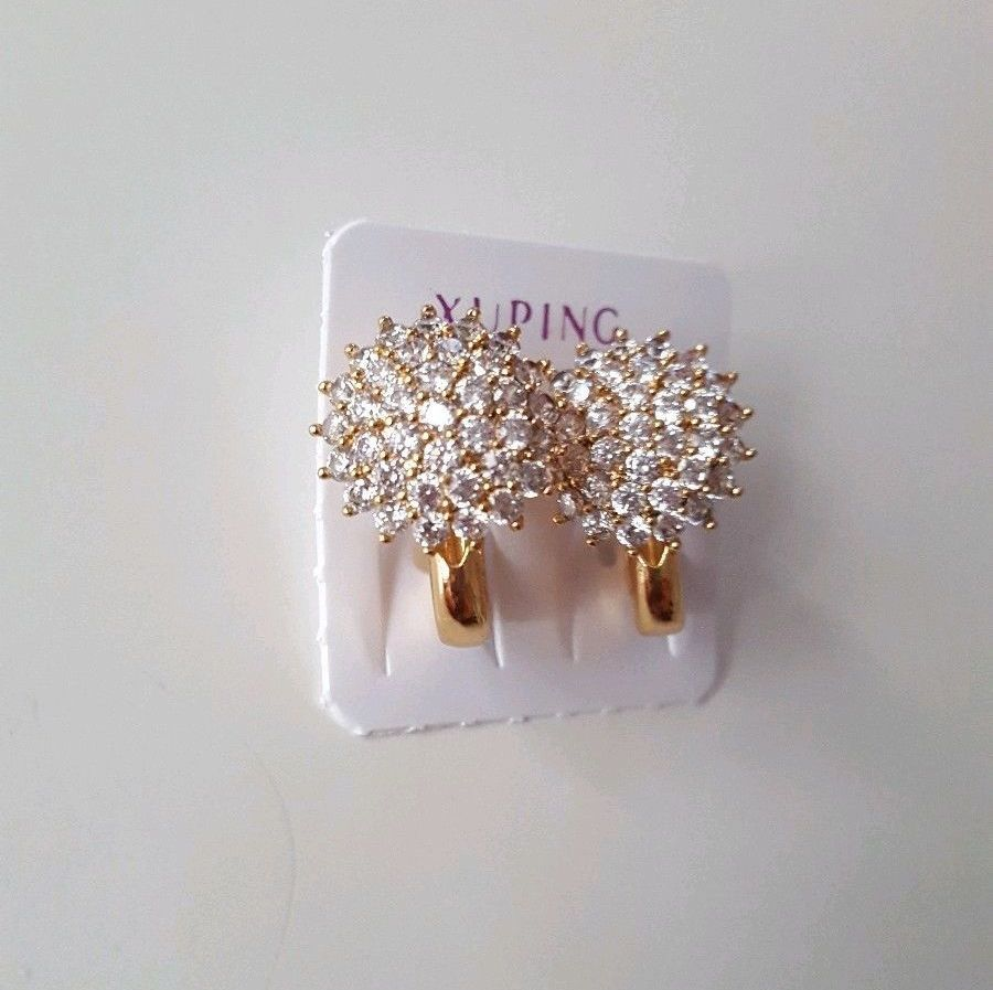 Real Gold Plated Women Diamante Earrings
