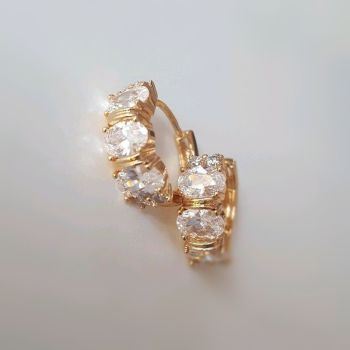 Real Gold 24k Plated Zircon Women Earrings