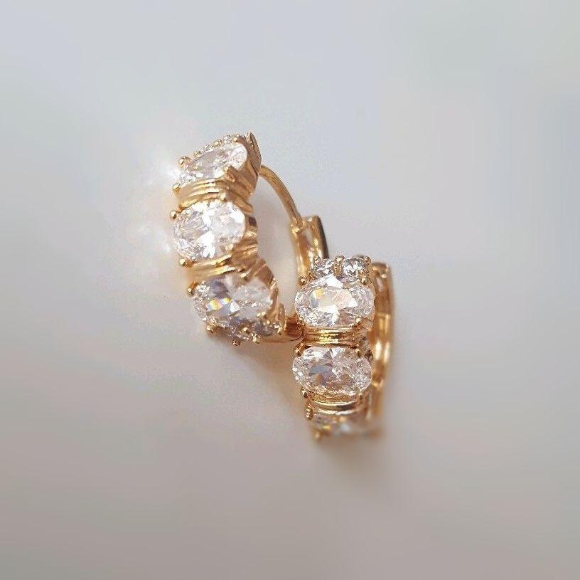Real Gold 24k Plated Zircon Women Earrings