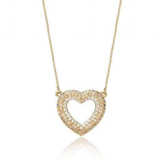 Heart Shape Celebrity Style Necklace Gold