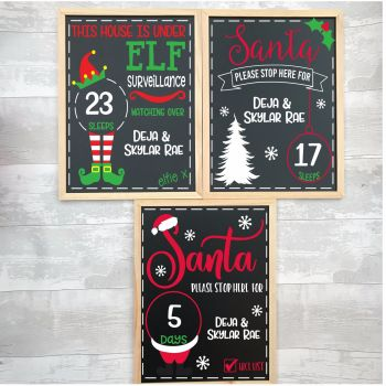 Personalised Chalkboard Christmas Countdown