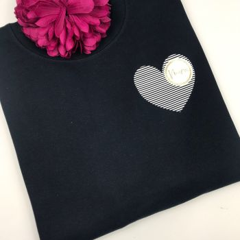 Adults Striped Heart Sweatshirt